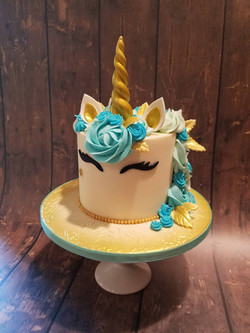 Gold light blue unicorn