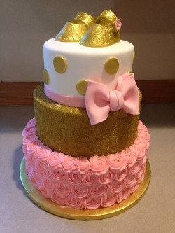 Beautiful pink and gold shower cake