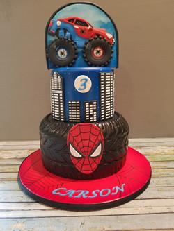 Spider Man Monster Truck combo cake