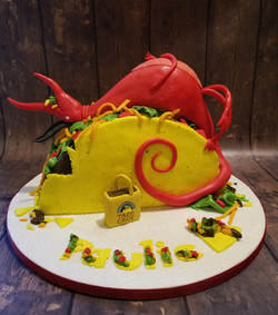 Dragon Loves Tacos inspired cake