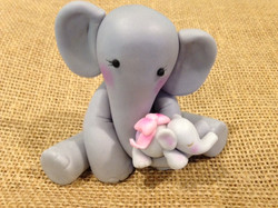 Momma and Baby Elephant Cake Topper