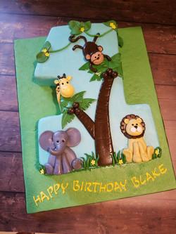 A cute #1 shaped cake