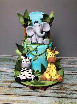 Jungle Babies Themed Shower Cake
