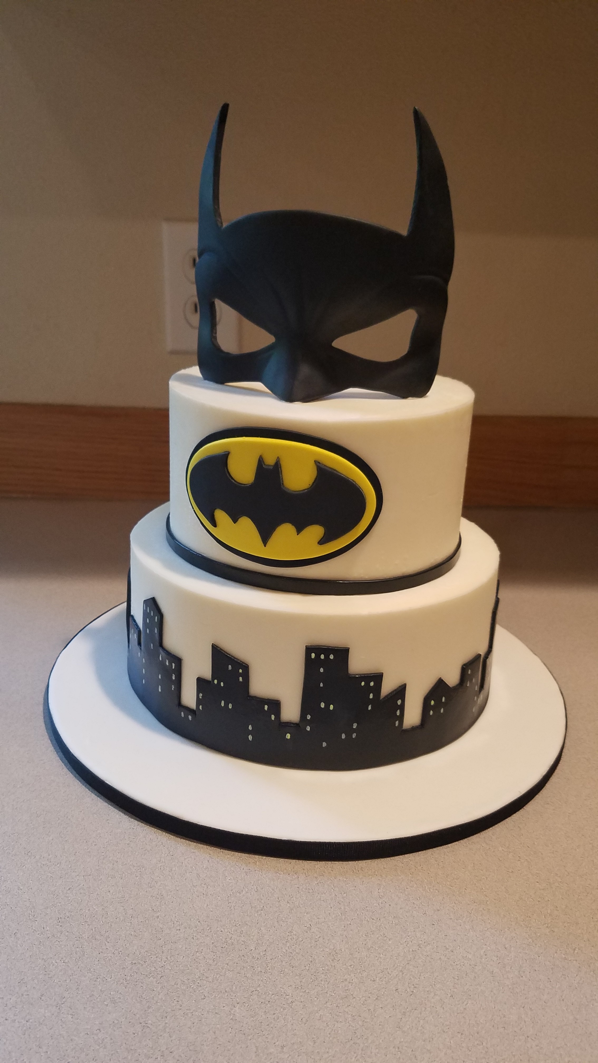 Simple Batman cake with edible mask