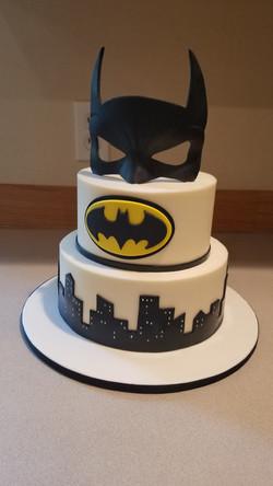 Simple Batman cake with edible mask