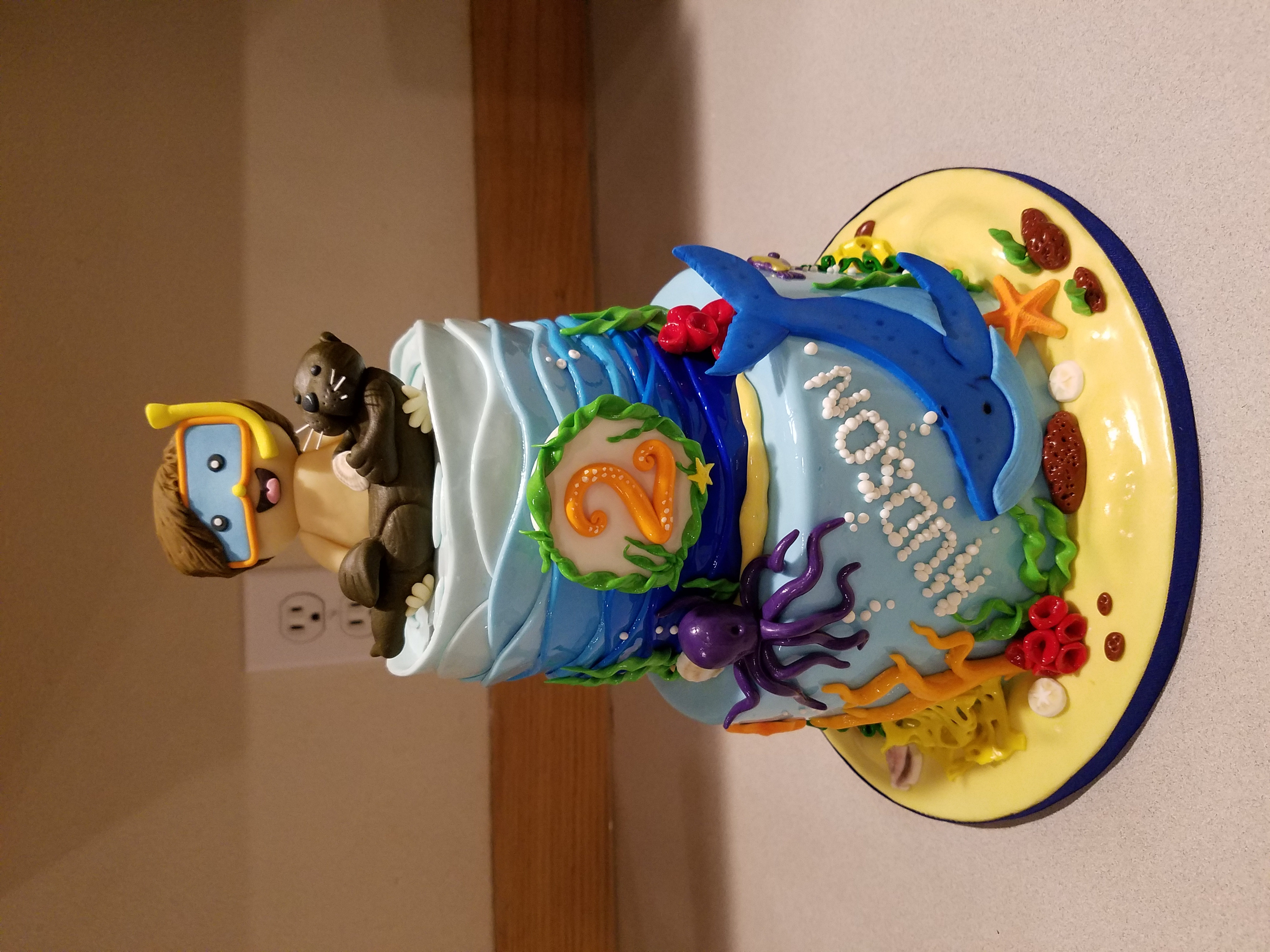 Ocean inspired boy's cake