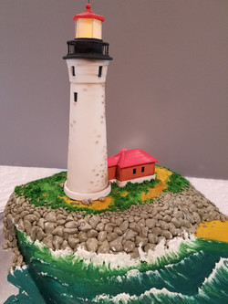 Lighthouse wedding cake side angle