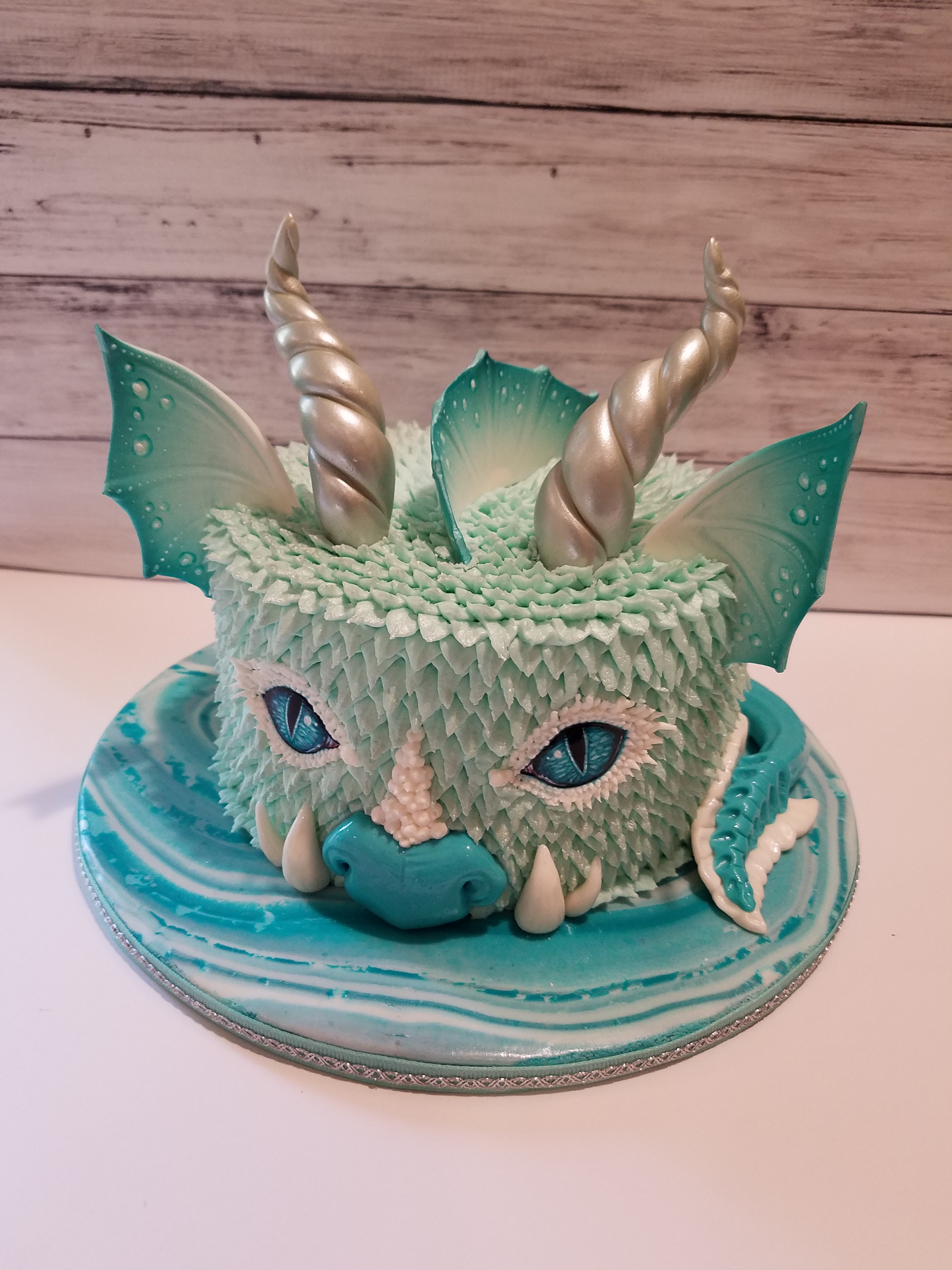 Buttercream Water Dragon Cake