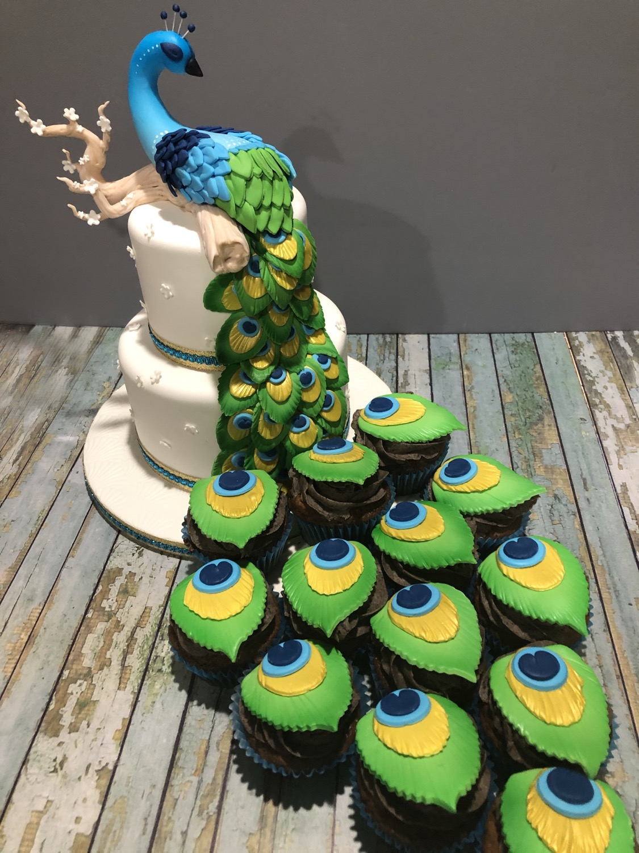 Sweet 16 Peacock Cake