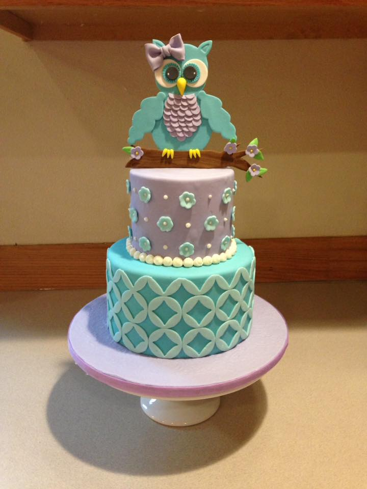 Cute owl cake for girls birthday