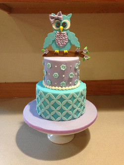 Cute owl cake for girls birthday
