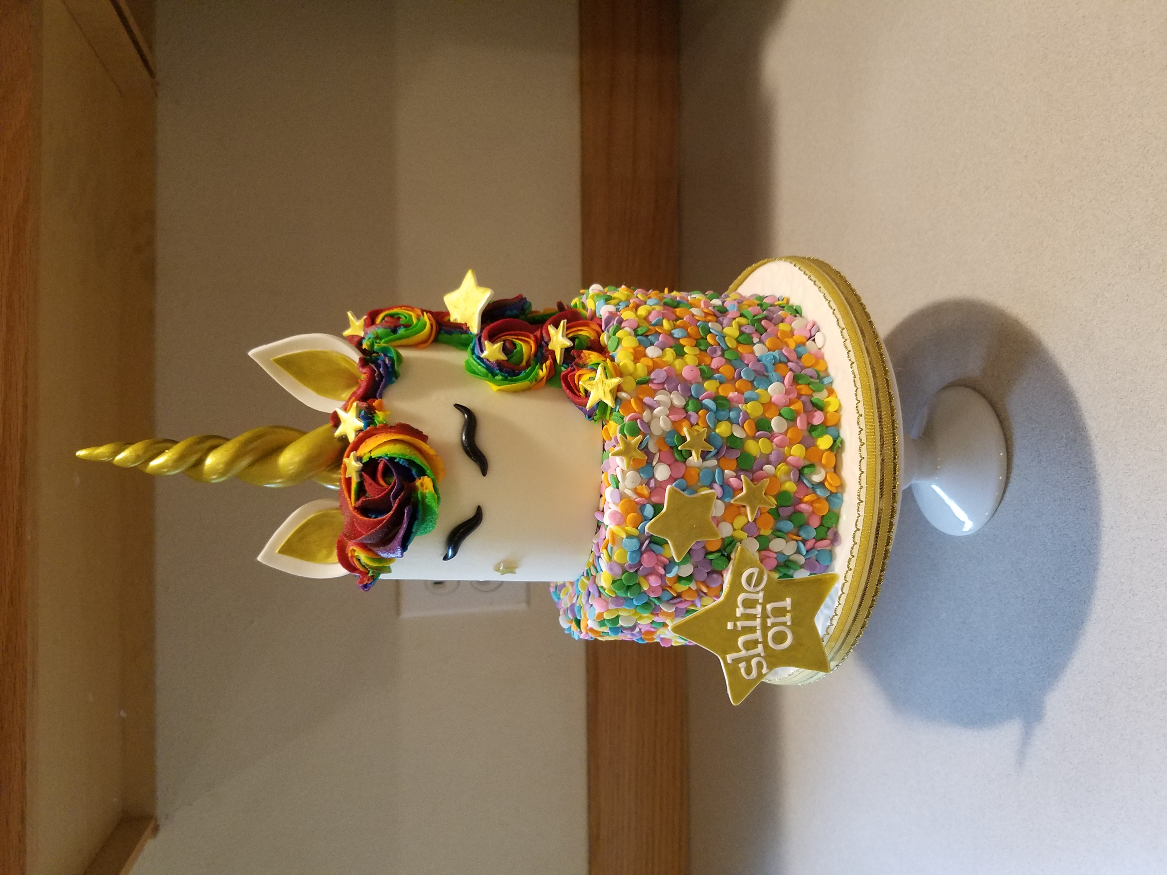 A fun rainbow unicorn cake