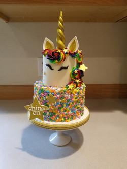 A fun rainbow unicorn cake