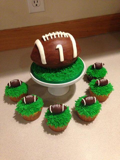 Babies football smash cake