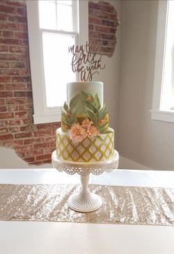 Peach, mint and ivory cake