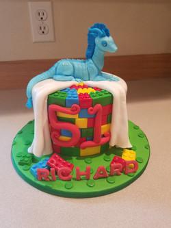 Toy dragon w/lego's cake