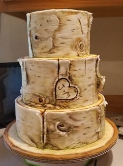 Undecorated birchwood cake