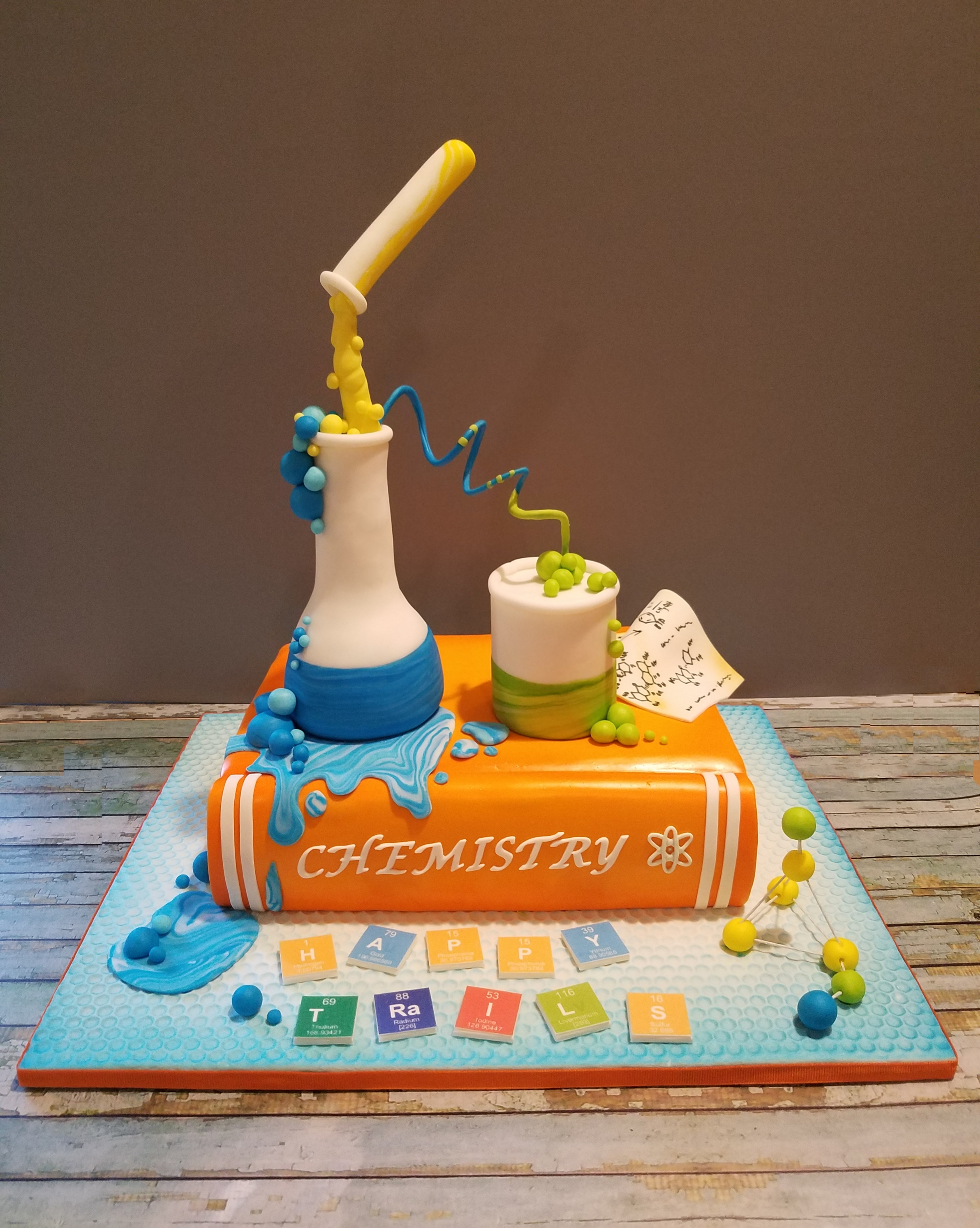 Science Themed Retirement Cake