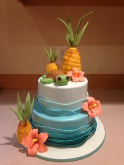 Babies first birthday Hawaiian cake