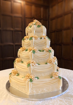 Draped Roses Wedding Cake