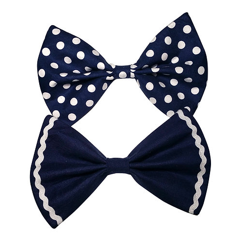Navy Fabric Hairbow