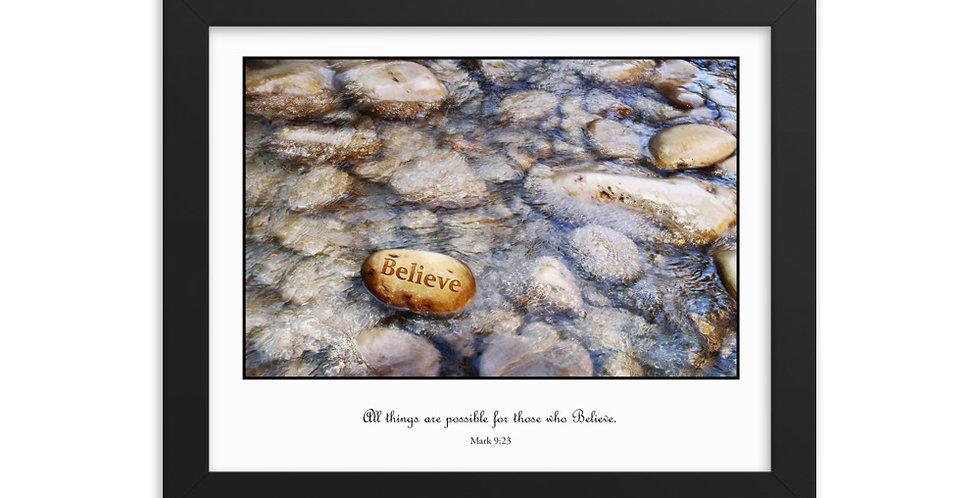Believe (on white) - Premium Framed Poster