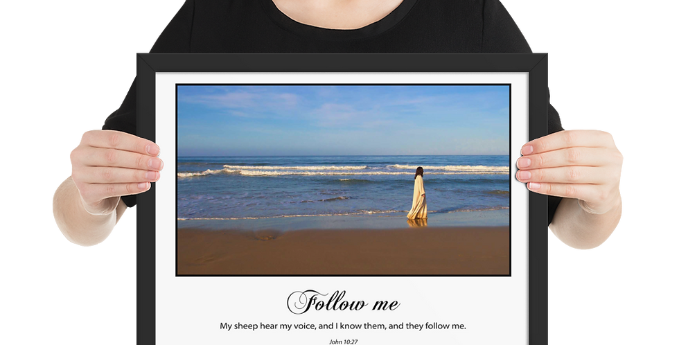 Follow Me (on white) - Premium Framed Poster
