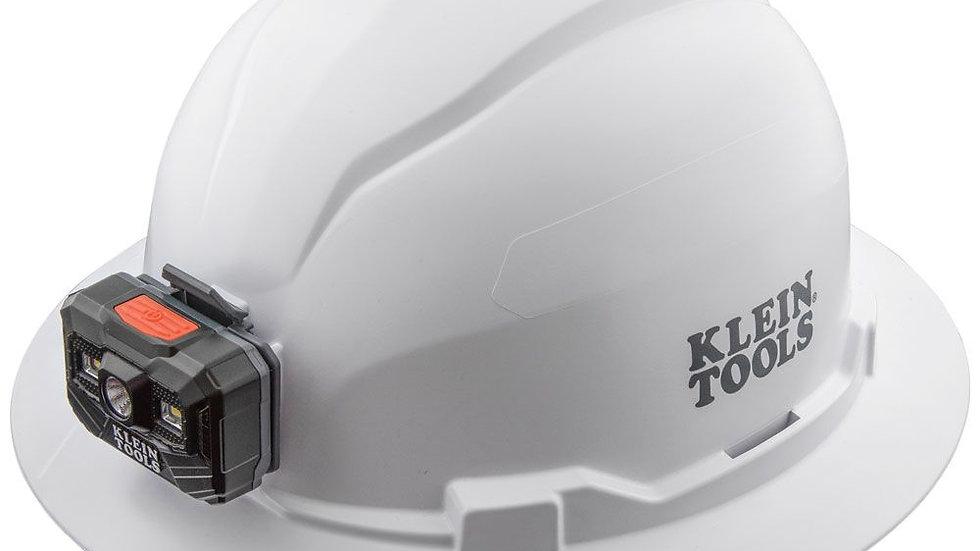 KLEIN Hard Hat w/light, Full Brim, White, Class E