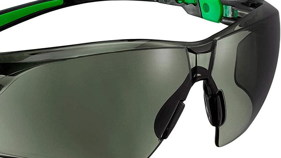Safety Glasses TINTED GREEN/BLACK FRAMED