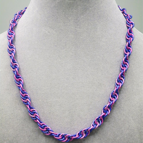 "19"" Pink & purple Spiral weave anodized aluminum chainmail necklace"