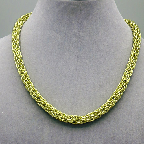 """16.7"""" Yellow Candy Cane weave anodized aluminum chainmail ne"""