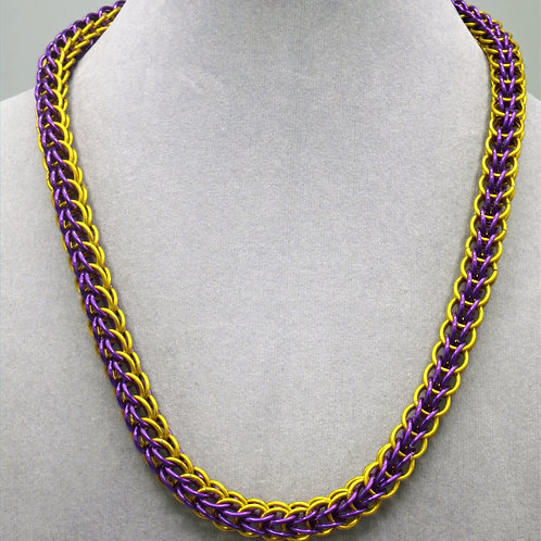"19.1"" Purple & gold Full Persian weave aluminum chainmail neckl"