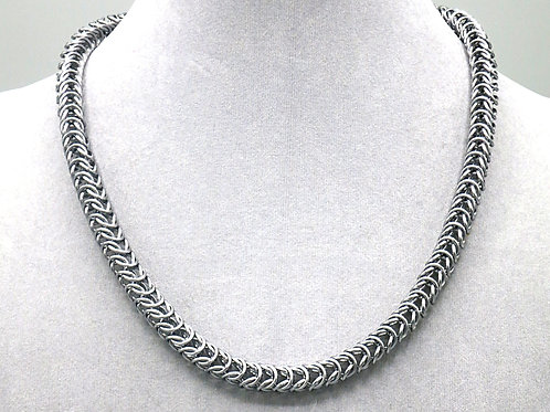 """17.5"""" Gunmetal Box weave aluminum chainmail necklace"""