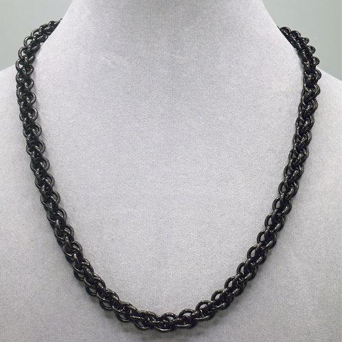 Black JPL weave anodized aluminum chainmail necklace