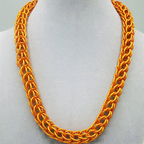 """20"""" Orange Full Persian weave anodized aluminum chainmail necklace"""