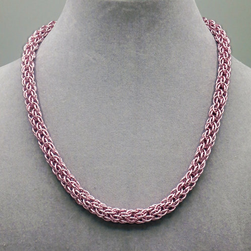 """17.1"""" Pink Candy Cane weave anodized aluminum chainmail ne"""