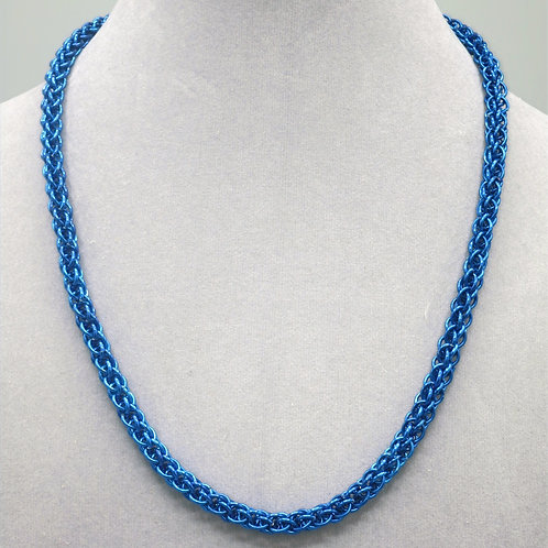 "18.5"" Blue Forars Kaede weave anodized aluminum chainmail ne"