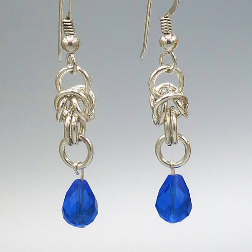 Argentium silver byzantine chainmail earrings with blue Preciosa crystal drops