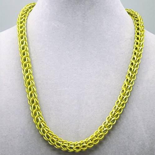 """19"""" Yellow Full Persian weave anodized aluminum chainmail necklace"""