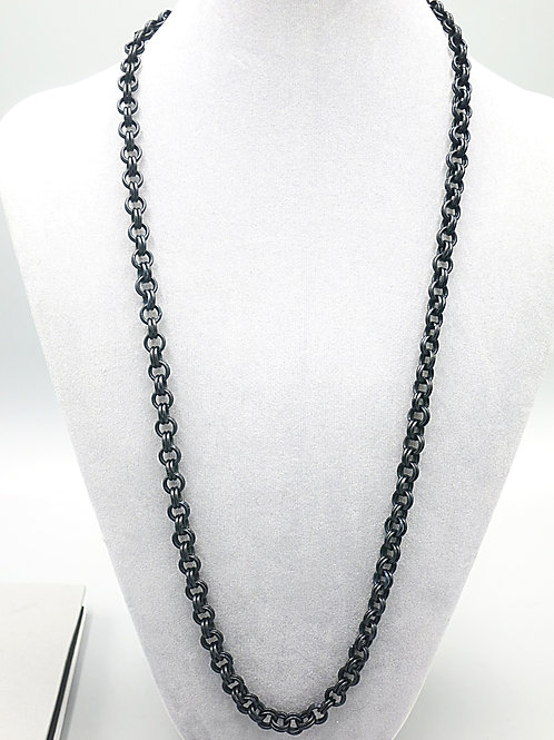 "27.6"" Black double link anodized aluminum chainmail necklace"