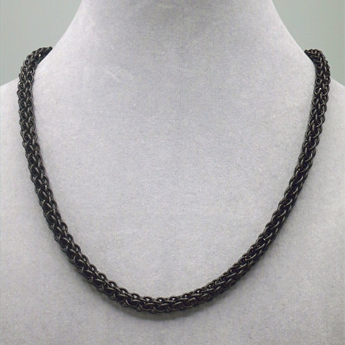 "18.2"" Matte black Forars Kaede weave aluminum chainmail necklace"