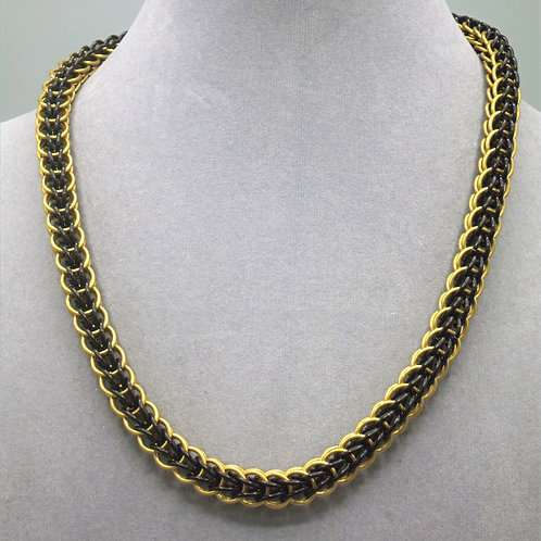 "18.5"" Black & gold Full Persian weave aluminum chainmail neckl"