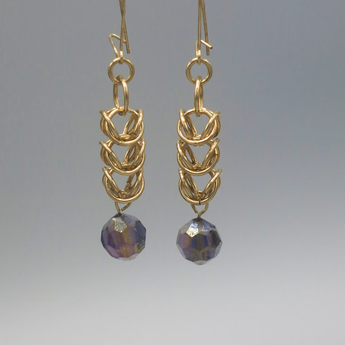 14k gold-filled byzantine chainmail earrings with purple Preciosa crystal drops