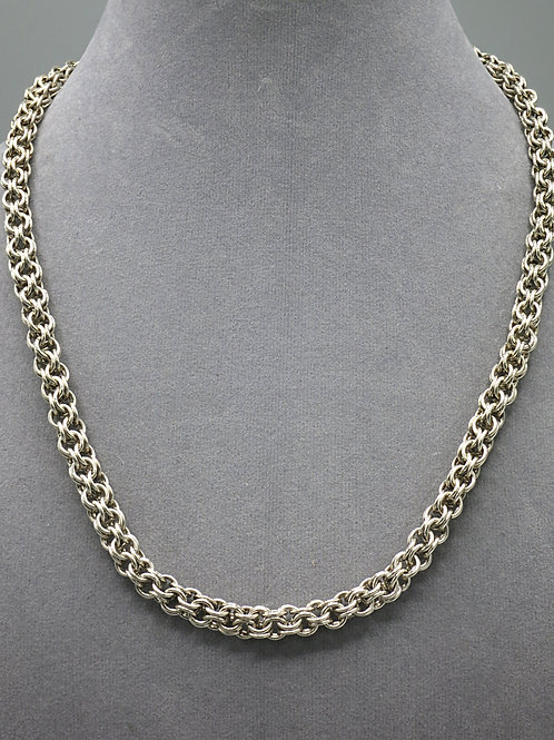 "Argentium silver 16.5"" Inverted Round chainmail necklace"