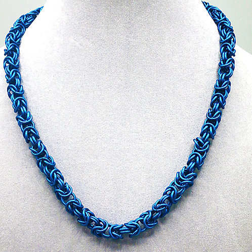 "17.7"" Byzantine weave anodized aluminum chainmail necklace"