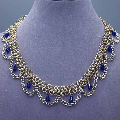 ".925 sterling silver 16.5"" Euro 4-in-1 chainmail necklace with chain & beads"
