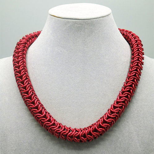 "18"" Red Roundmaille weave anodized aluminum chainmail necklace"