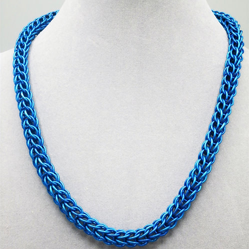"19"" Blue Full Persian weave anodized aluminum chainmail necklace"