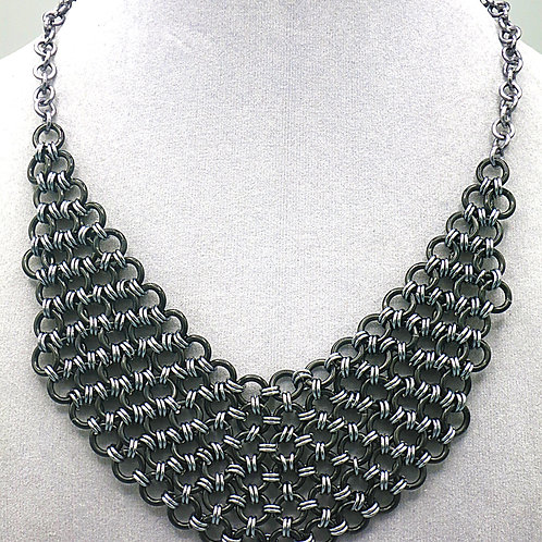 "16.5"" Hana Gusari  weave bib aluminum chainmail necklace"