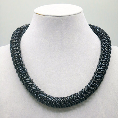 "18"" Black Roundmaille weave anodized aluminum chainmail necklace"